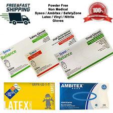 Latex/Nitrile/Vinyl Gloves S / M / L / XL Powder Free Sysco/Ambitex/Safety Zone