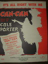 VINTAGE SHEET MUSIC - IT'S ALL RIGHT WITH ME - COLE PORTER - CAN-CAN