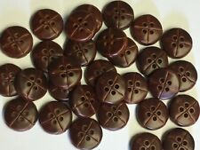 10 Dark Brown Leather Look 20mm 4 Hole Good Quality Buttons (SB69E)
