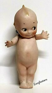 """Vintage ROSE O'NEILL Bisque Kewpie Wing Doll Baby Figurine Hand Painted 6"""" H"""