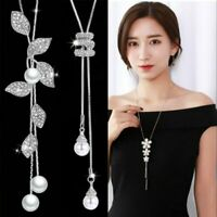 Charm Pearl Crystal Leaves Flower Multilayer Pendant Necklace Chain Women Party