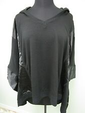 IMAN Poncho Cape Hooded V-Neck Coat Two Toned Black Women's Sz Medium/Large NWT