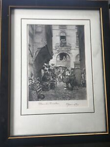 voltaires last visit to paris engraving 1800's antique vintage rare art