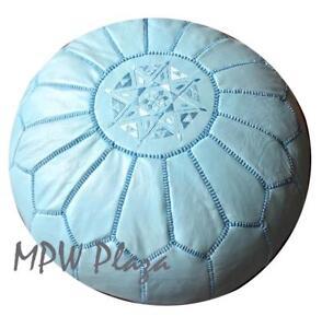 MPW Plaza Pouf, Light Blue, Moroccan Leather Ottoman (Un-Stuffed)