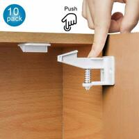 10/12X Cabinet Locks Baby Safety Invisible Child Kids Proof Cupboard Drawer US