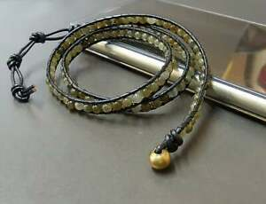 Labradorite  Beaded Black Leather Wrap Bracelet Anklet , Leather Bracelet,