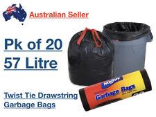 x 20 Mighty Garbage Rubbish Garden Refuse Bag Black Liner 57L 80x65cm Tie String