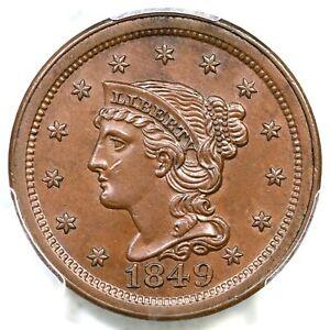1849 N-4 R-1 PCGS MS 63 BN Braided Hair Large Cent Coin 1c