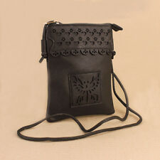 Black Butterfly Faux Leather Passport Shoulder Bag Phone Pocket Boho Festival