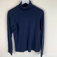 Lower East Navy Roll Neck Long Sleeve Jumper Top LARGE