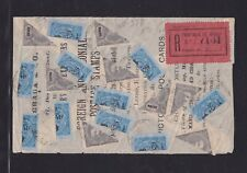 Macau China 1910 Registered Cover One Side w/ Bisected Stamps x18 CV£1.8k+Scarce