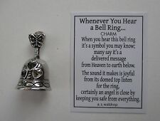 p heart Whenever you hear a bell ring MINIATURE CHARM angel is near ganz pendant
