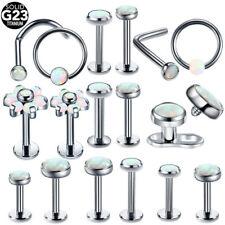 1PC Titanium White Fire Opal Stone Nose Ring Lip Ring Stud Earring Dermal Anchor