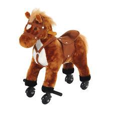 HOMCOM Rocking Horse Ride on Rocker Children Plush Toy Wooden Horse Sound Brown