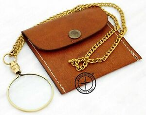 Brass Magnifier Pendent Chain Nautical Pocket Magnifying Glass With Leather Case