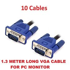 WHOLESALE 10 X 1.3 METER LONG VGA MALE TO MALE 15 PIN  PC MONITOR CABLE