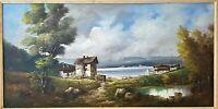 Wonderful Mid Century Artist Signed Italian Lakeside Landscape Oil Painting