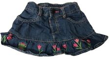 Gymboree Baby Girl 12-18 Month Denim Skirt With Pink Tulips & Frogs Adorable Euc