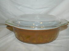 Pyrex oval EARLY AMERICAN gold eagle on brown casserole #43 1 1/5 qt. with cover