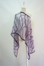METRO CITY  pure silk purple chains printed women men long scarves P611524