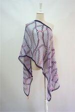 METRO CITY  pure silk purple chains printed women men long scarves P611524
