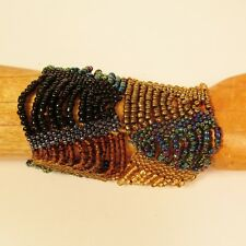 Set of 2 Gold MultiColor Multi Strand Handmade Swag Stretch Seed Bead Bracelets