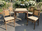 Vtg Mid Century Stakmore Faux Bamboo Folding Card Table Chairs 5 Piece Set EUC!