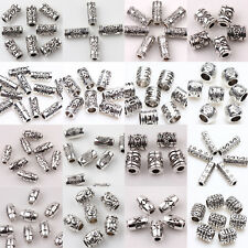 15-100PCS Carve Floral Tube Oval Shape Tibetan Silver Spacer Beads Connectors