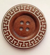 60mm Dark Wooden Patterned Buttons