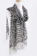 B157 Full Sequin Open Weave Silver & Black Fringe Scarf Shawl Wrap Boutique $145