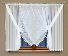 "Finestra CORTO Curtain Made Of White Voile con Cucitura Pizzo Guipure 59 ""X 157"""