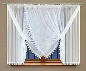 """Short window curtain made of white voile with stitched guipure lace 59"""" x 157"""""""