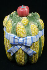 1995 FITZ & FLOYD CERAMIC COOKIE JAR, CANISTER, CORN ON THE COB, BOWQUET HARVEST