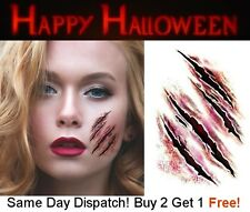 Halloween Zombie Scars Tattoos Fake Cuts Scar Gashes Wound FX Face Make Up Kit