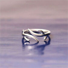 USA Christmas Antler Wedding Ring Open Jewelry Women Fashion Simple Silver Ring