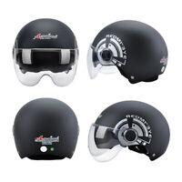 Black Motorcycle Helmet Half  Face Dual Sun Visor Scooter Chopper Unisex Helmet