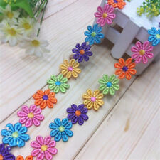 50pcs Vintage Colorful Flower Lace Edge Trim Ribbon Applique Fabric Sewing Craft