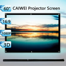 "60""Inches Portable Projector Screen HD Matte White Home Outdoor Backyard 16:9"