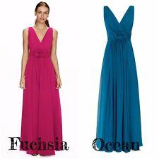 BHS Bridesmaid Dress Ruby Long Fuchsia Ocean Chiffon 8 10 12 14 16 18 BN