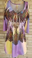 Ocean Breeze Womens L Dress Sublimation Tie Dye 3/4 Sleeve V Neck Rhinestone