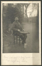 GERMANY. WW1. 1916. POSTCARD. SOLDIER PLAYING ZITHER.