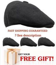 MEN WINTER HAT WOOL IVY HAT FLAT HAT CAP WITH EAR WARMER FLAP BLACK CHRISTMAS