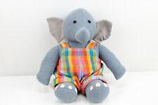 "Barbara Samsoni Handwoven Handmade Stuffed Animal Blue Jean Elephant 16"" Plush"