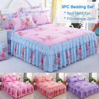 Home Flower Floral Bed Skirt Pillowcase Set Dust Ruffle Bedspread Queen US Ship
