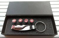 Vauxhall High Quality Chrome key ring key chain fob + tyre valve dust caps Gift
