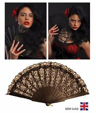 Spanish Style BLACK LACE FAN Silk Folding Hand Held Flower Dance Party Wedding