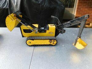 Vintage Tonka Bulldozer Excavator Shovel Pressed Steel Toy Trencher Yellow