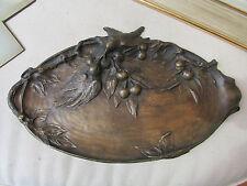 ancien grand plat vide poche en bronze decor oiseaux vigne raisin epoque 1900