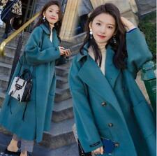 Womens Fashion Button Lapel Loose Fit Solid Wool Blend Parka Coat Jacket Outwear