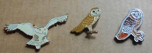 Rspb Owl Bird Metal Pin Badge x 3